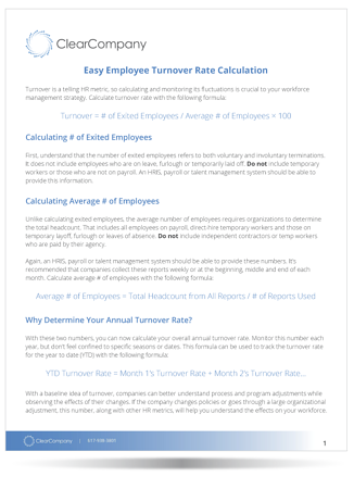 Easy Employee Turnover Rate Calculation