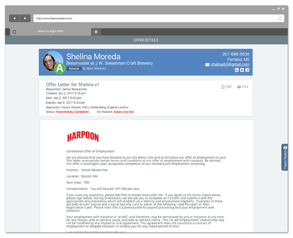 candidate social profile screenshot example