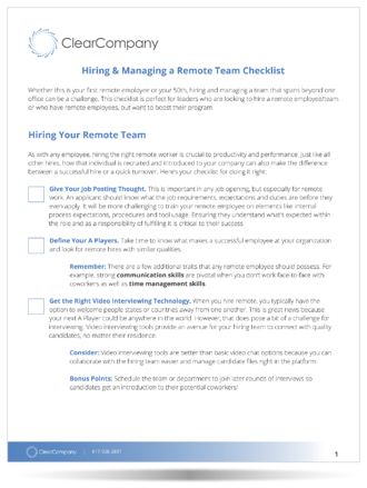 Hiring & Managing a Remote Team Checklist