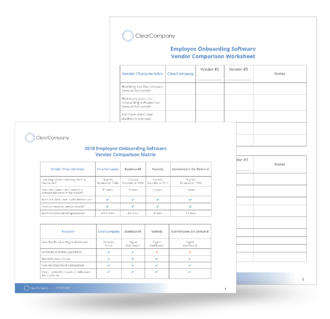 Onboarding Vendor Comparison Workbook
