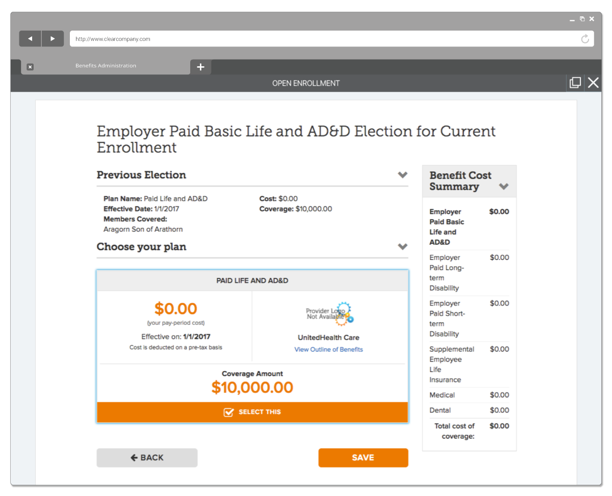 Tools for Benefits Administration Screenshot
